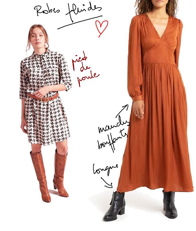 Photo robes fluides La Fée Maraboutée (pied de poule) et La Redoute Collections (longue)