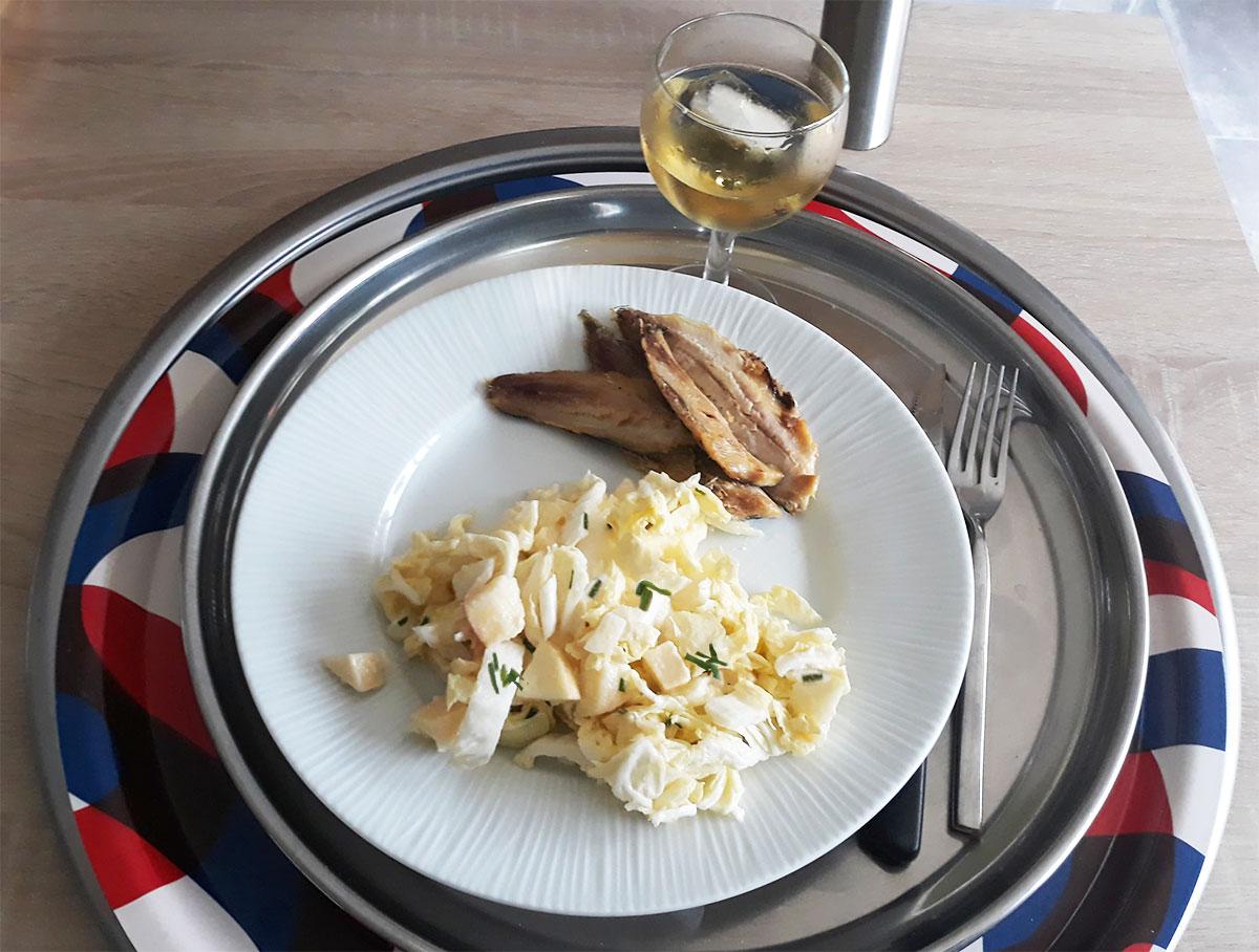 salade-au-chou-chinois et sardines grillées