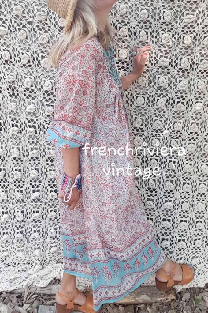 Robe boheme rose blanc bleu