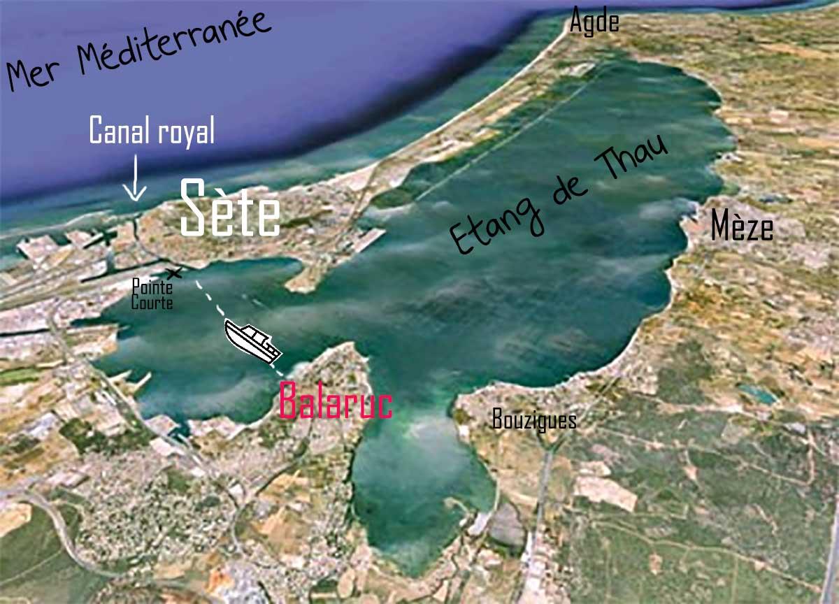 plan-Etang-de-Thau et traversée Balaruc Sète